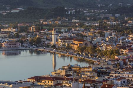 Close-up view of the central part of Zakynthos city, the capital of the island of Zakynthos