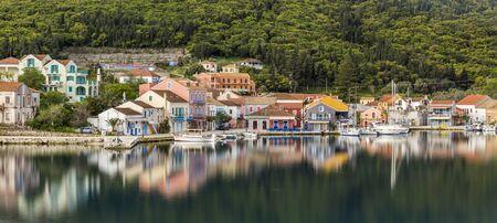 FISKARDO, GREECE - APRIL 05, 2018: Fiskardo fishing village and a community on the Ionian island of Kefalonia
