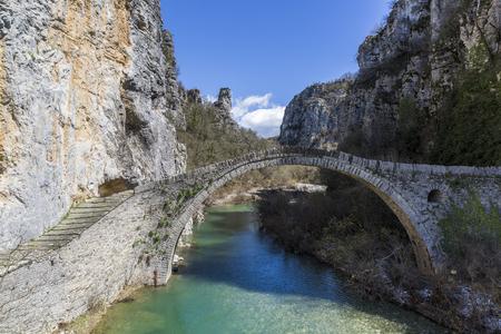 Ancient Kokoris or Noutsos bridge in Central Zagori, Greece