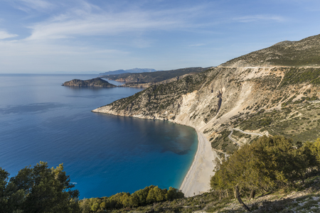 Aerial view of Myrtos beach, the best on Kefalonia island and in the whole Greece