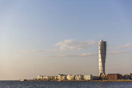 Evening view of Malmo with Turning Torso skyscraper in the foreground