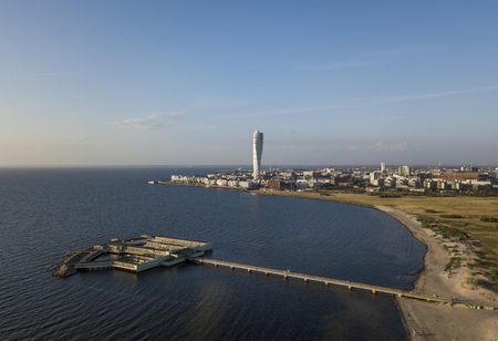 Aerial view of Ribersborg Beach and Vastra Hamnen district in Malmo