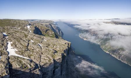Aerial view of Kjerag plateau and Lysefjorden Imagens