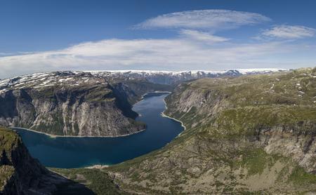 Aerial view of Ringedalsvatnet lake in Norway
