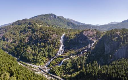 Aerial panorama of Latefossen waterfall in Norway Imagens