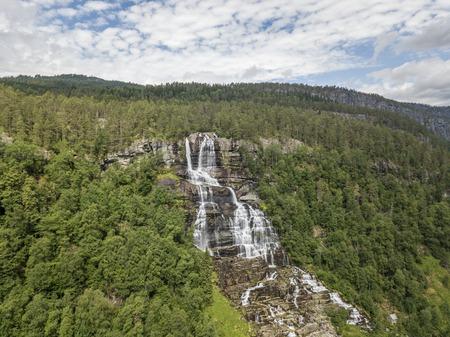 Aerial view of Tvindefossen waterfall in Norway
