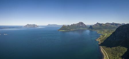 Aerial view towards the open sea, Fugloya, Lofotveggen or the Lofoten Wall and the horizon Imagens