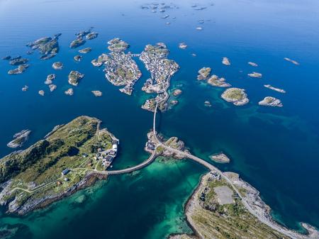 Aerial view of Henningsvaer archipelago on Lofoten islands