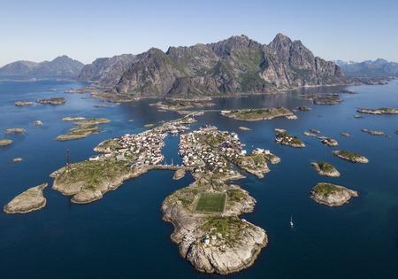 Aerial view of Henningsvaer archipelago and famous football stadium on Lofoten islands