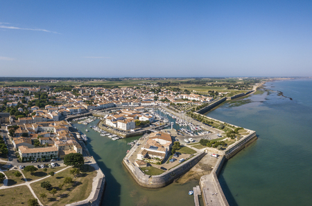 Aerial view of the quay at Saint-Martin-de-Re 스톡 콘텐츠