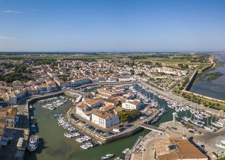 Aerial view of the quay at Saint-Martin-de-Re Imagens
