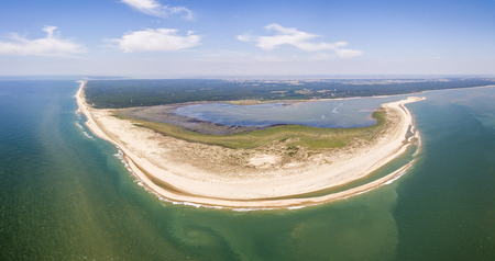 Aerial view of Coubre cape and beach in France