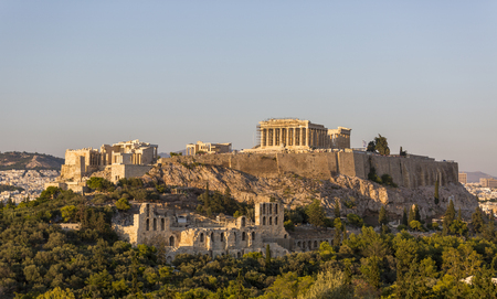 The Acropolis of Athens, seen from the Hill of the Muses 스톡 콘텐츠