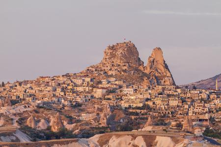Uchisar Castle in Cappadocia at sunrise