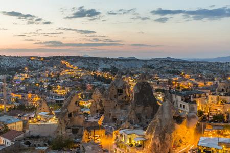 Goreme town in Cappadocia at sunset