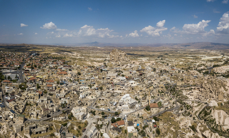 Aerial view of Uchisar Castle and town in Cappadocia