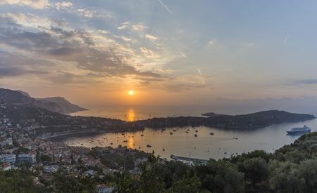 Sunrise over Cap Ferrat on French Riviera 스톡 콘텐츠