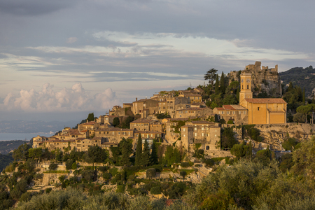 View of Eze medieval village at sunrise