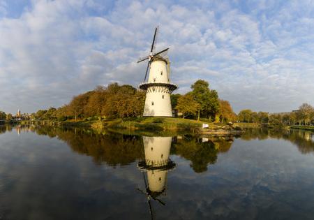 Beautiful windmill Molen de Hoop in the city of Middelburg