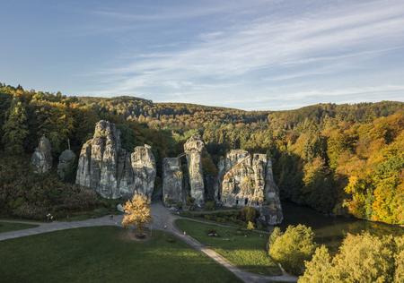 Externsteine rock formation, also called German Stonehenge, in autumn