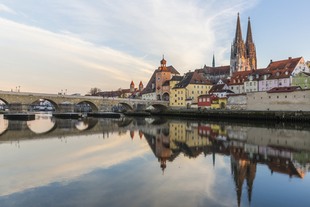 View of the Stone Bridge, St. Peters Church and the Old Town of Regensburg
