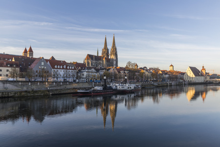 View of the St. Peters Church and the Old Town of Regensburg