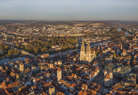 Aerial view of the medieval center of Regensburg