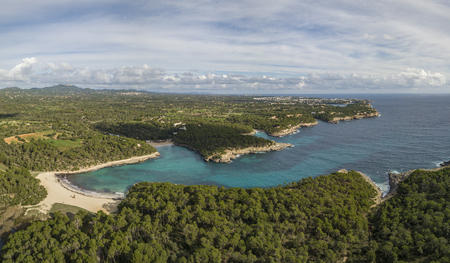Aerial view of award winning SAramador Beach in the South-East of Mallorca island