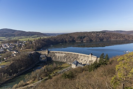 Aerial view of Edersee Dam in February, Germany