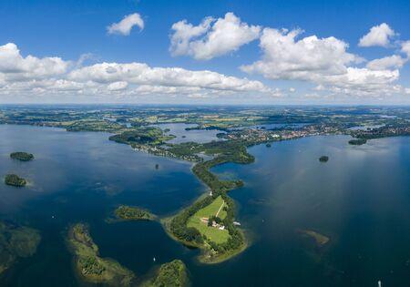 Aerial view of Princes Island or Prinzeninsel near city of Ploen 스톡 콘텐츠