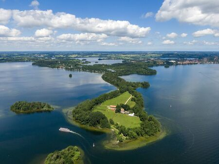 Aerial view of Princes Island or Prinzeninsel near city of Ploen Stock Photo