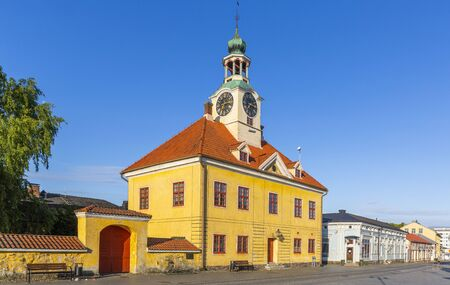 Town hall and well-preserved houses in the wooden city centre of the town of Rauma, Finland