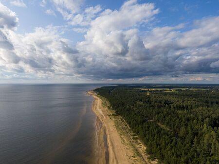 Aerial view of Vidzeme shoreline and Vitrupe beach in Latvia