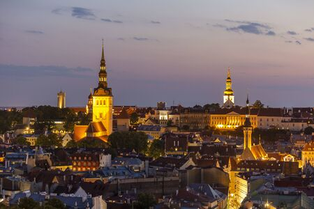 Evening view of well preserved Tallinn old town