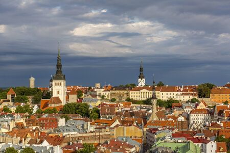 View of well preserved Tallinn old town in the morning 스톡 콘텐츠