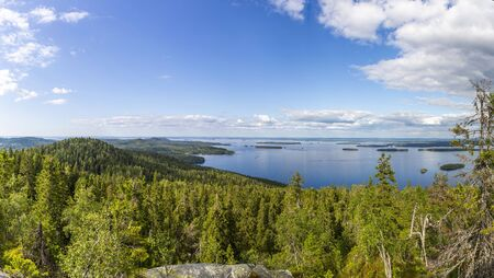 Panorama of Koli national park and Pielinen lake in North Karelia region of Finland