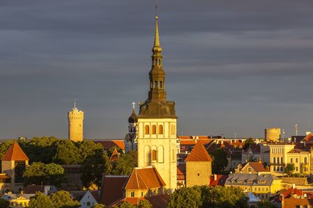 View of well preserved Tallinn old town with the Niguliste church in the foreground