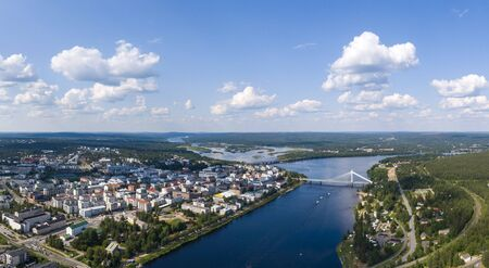 Aerial view of Rovaniemi city in northern Finland