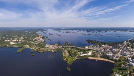 Aerial view of Kemijarvi city in northern Finland