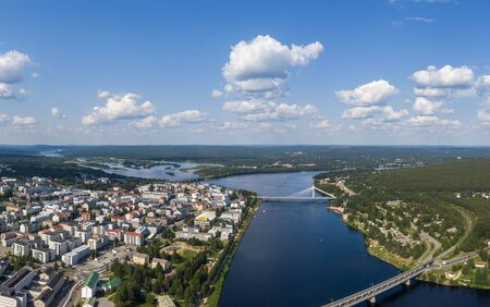 Aerial view of Rovaniemi city in Lapland province in northern Finland 스톡 콘텐츠