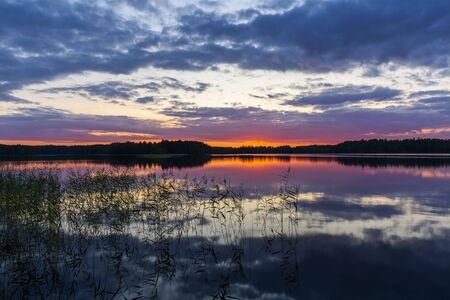 Sunset on the lake in Savonlinna in the heart of the Saimaa lake region in Finland