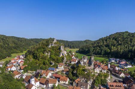 Aerial view of the Tuechersfeld village, a symbol of Franconian Switzerland in Germany Banco de Imagens