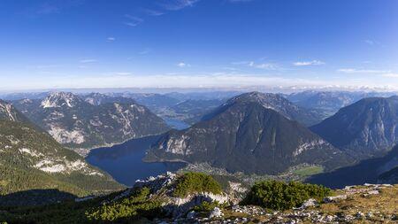 Panoramic view of the Lake Hallstatt valley in Ausrtia