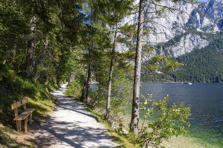 Tourist hiking trail along Lake Altaussee in Austria