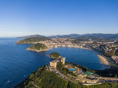 Aerial view of the Concha Bay in San Sebastian coastal city, Spain Banco de Imagens