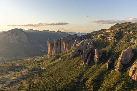 Mallos de Riglos, a set of conglomerate rock formations in Spain Banco de Imagens