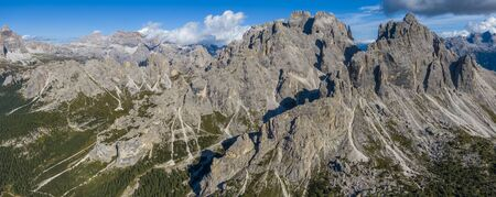 Aerial view of the mountains over the Col de Varda mountain station in Italy Banco de Imagens