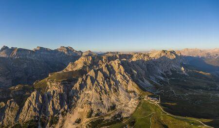 Aerial view of Pizes de Cir mountain range and Gardena Pass, Italy Banco de Imagens