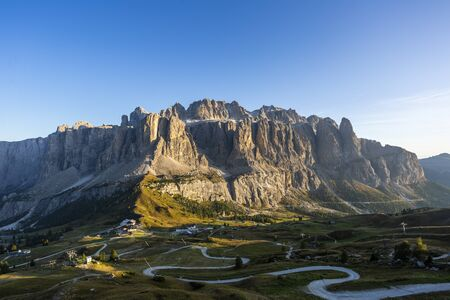View of Gardena Pass and Sella group from Pizes de Cir, South Tyrol, Italy