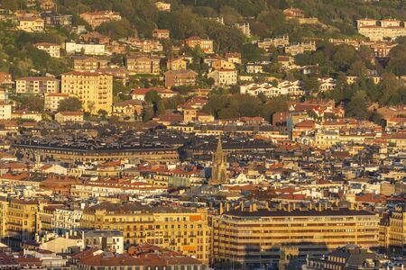 Evening view of the San Sebastian coastal city, Spain